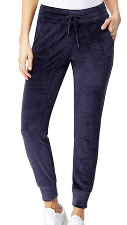 32 Degrees Heat Women's Velour Jogger Pants Purple Navy