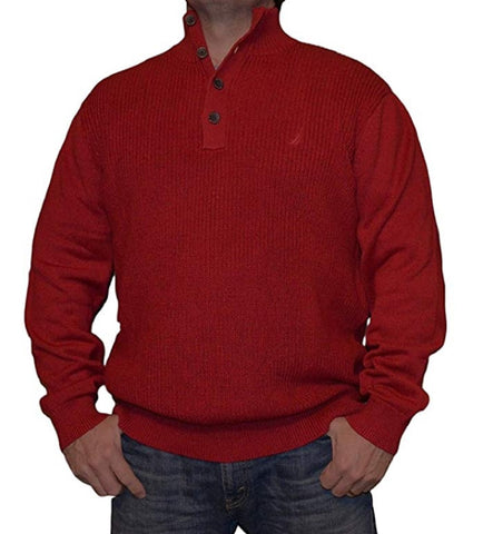 Nautica Men's Four Button Mock Neck Pullover Logo Sweater - Red