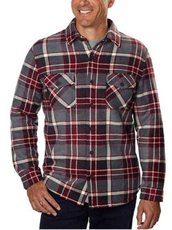 Freedom Foundry Men's Fleece Super Plush Shirt Jacket - Barn Red