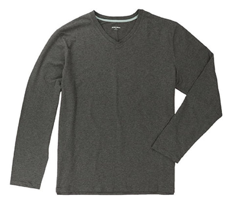 Rough Dress Men's V-Neck Long Sleeve Stretch Tee Shirt - Charcoal