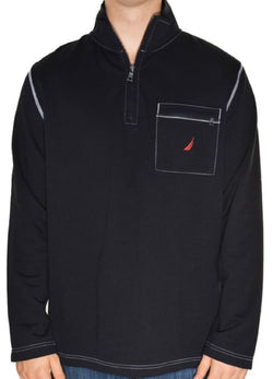 Nautica Mens Half Zip Mock Neck Sweatshirt - Black