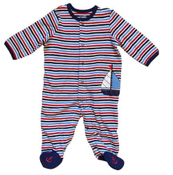 Little Me Baby Boys 1 Piece Sleeper Footie - Blue/White Sailboat