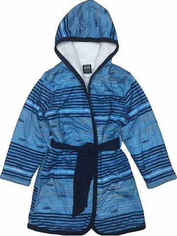 Woodrow & Friends Kid's Sherpa Lined Robe - Blue Shark