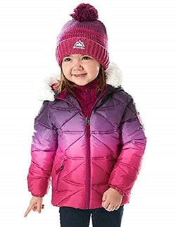 Snozu Girl's Hypoallergenic Puffy Down Jacket with Beanie - Berry Purple