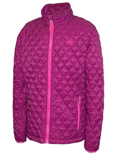 Snozu Girls' Glacier Shield Quilted Jacket - Dark Berry/Fuchsia
