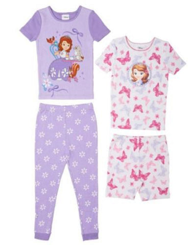 Komar Kids Disney Sofia the First 4-Piece Pajama Set - Pink/Purple