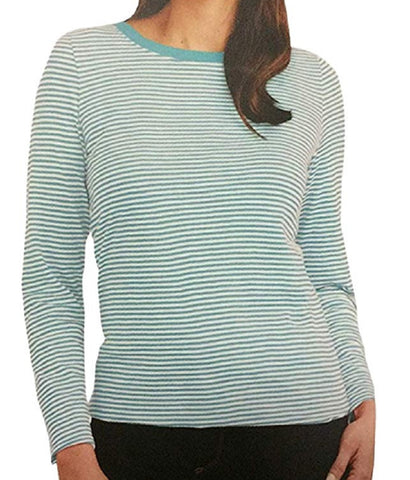 Splendid Women's Stripe Button Back Shirt - Aqua Mini Stripe