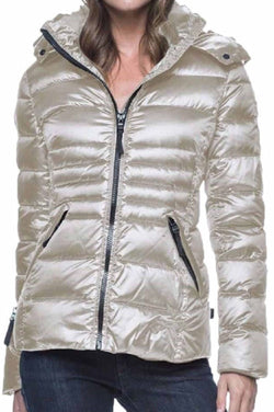 Andrew Marc Women's Packable Featherweight Down Hooded Jacket - Pearlized Thistle