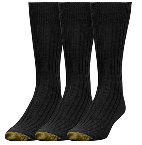 Gold Toe Mens 3 Pack Watson Wool Dress Crew Socks Shoe Size 6-12-1/2 Black