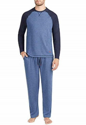 Tommy Bahama Men's Long Sleeve Crew Neck Top & Pant Pajama Set - Navy/Blue