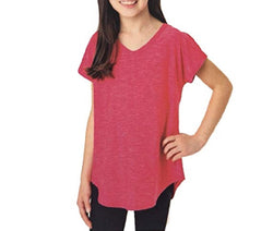 Tuff Athletics Girl's Short Sleeve Active Tee - Raspberry