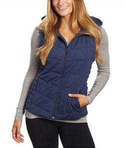 Be by Blanc Noir Womens Breathable Quilted Knit Hooded Vest - Navy