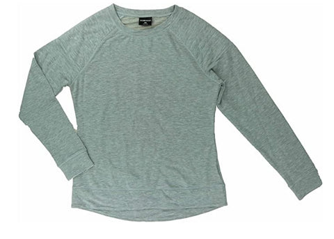 Women's Quilted Crew Neck Fleece Pull On Top Heather Grey