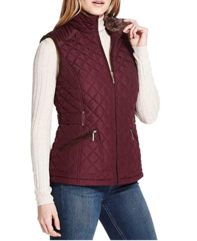 Weatherproof Ladies' Ultra Soft Cozy Lining Quilted Vest - Red