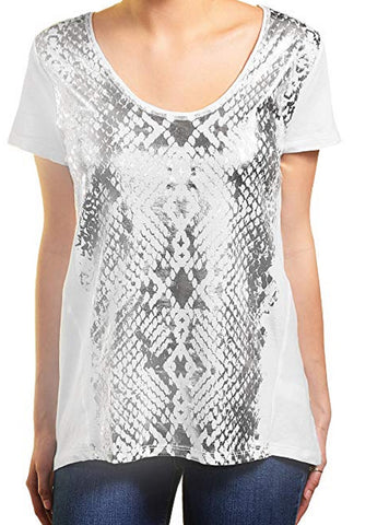 DKNY Jeans Womens Short Sleeve Scoop Neck Tee - White