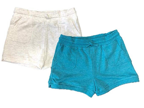 32 DEGREES Cool Girls 2-Pack Soft Fleece Shorts - White/Turquoise