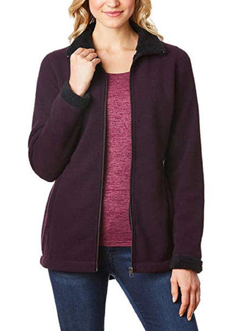 32 Degrees Ladies Sherpa Lined Fleece Jacket - Wine Size Small