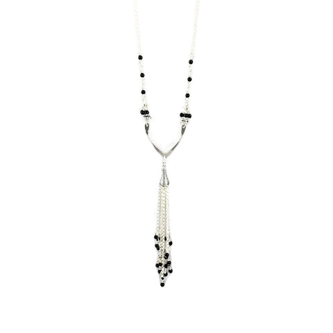 Petal Tassel Onyx Necklace