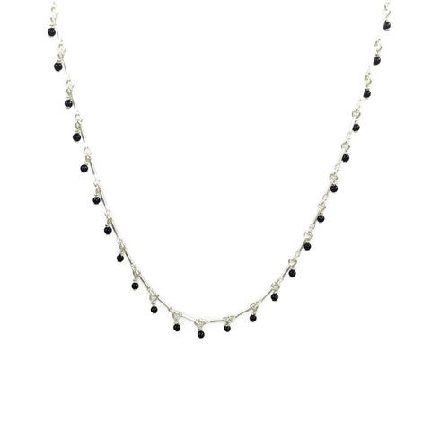 Tiny Black Onyx Dangling Necklace