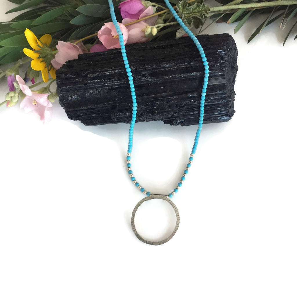 Silver Textured Ring with Tiny Turquoise Bead Chain