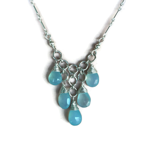 5 Dangle Briolette Waterfall Necklace