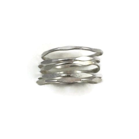 Set Of 5 Super Fine Sterling Bamboo Rings