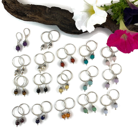 6mm Gemstone Silver Hoop Earrings
