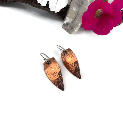Silver Hammered Arrowhead Earrings