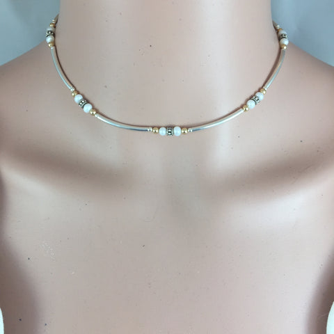 Bent Tube Choker with Pearls, Silver & Gold