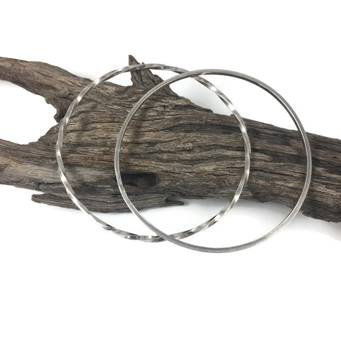 Twisted Square Wire Silver Bangle