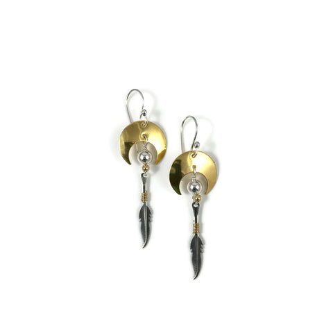 Crescent W/ Feather Drop Earrings