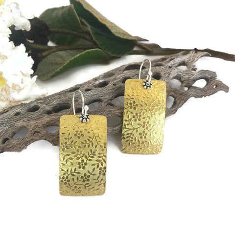 Wide Rectangle Flower Embossed Brass Earrings