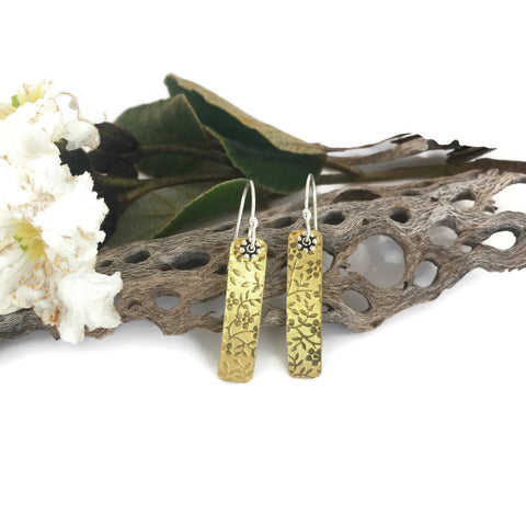 Thin Rectangular Brass Flower embossed earrings