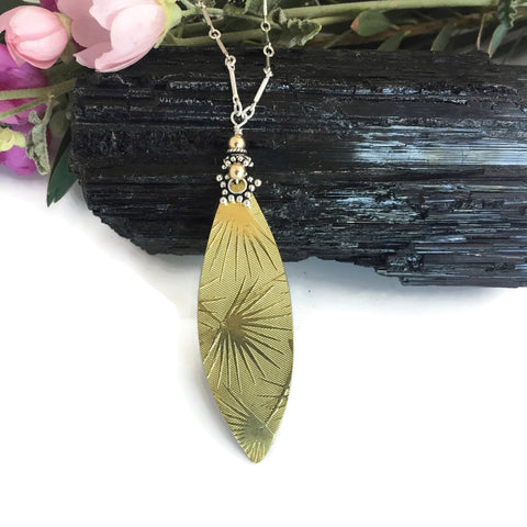 Brass Sunburst Surfboard Necklace