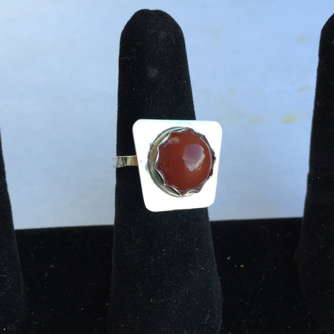 Carnelian Cabochon Silver Ring