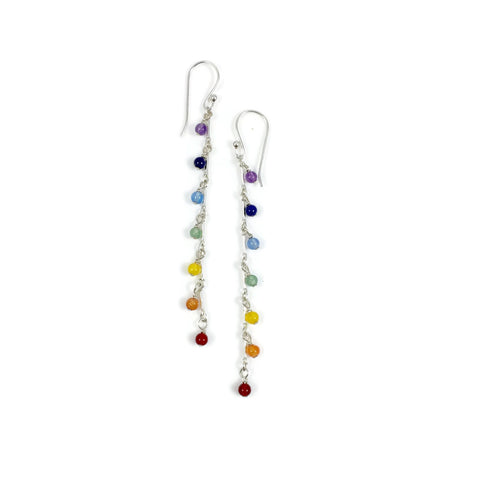 Long Chakra Stone Earrings