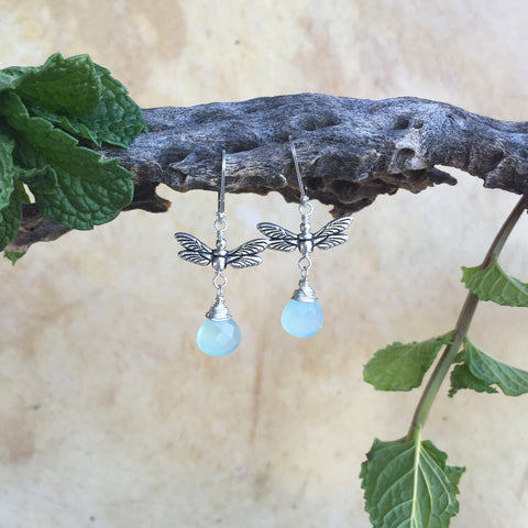 Dragonfly Earrings With Gemstone Briolette Drop