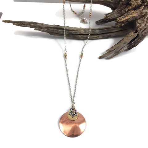 Copper & Brass Disk Necklace