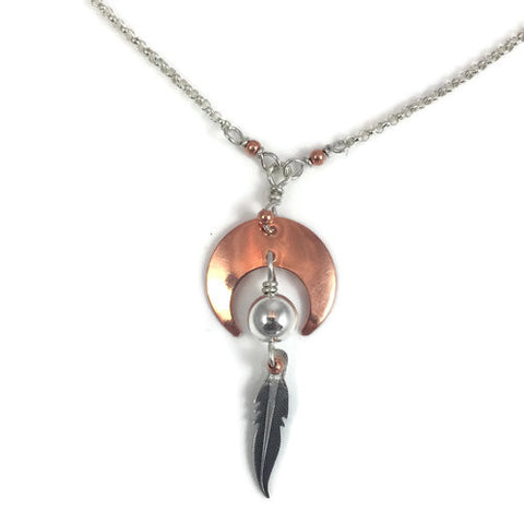 Copper Crescent W/ Feather Drop Necklace