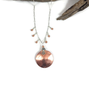 Copper Disk with Side Dangles Necklace