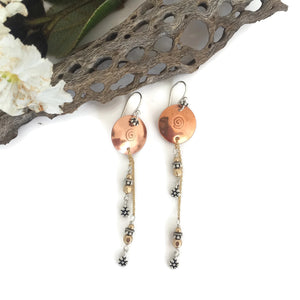 Copper Disk Chain Drop Earrings