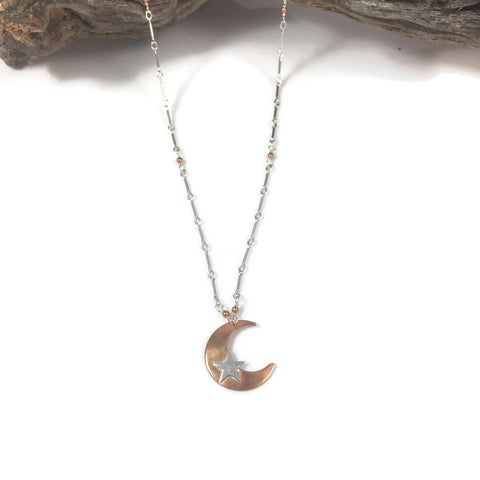 Copper & Silver Moon and Star Necklace