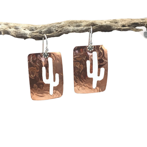 Saguaro Rectangle Brass Earrings