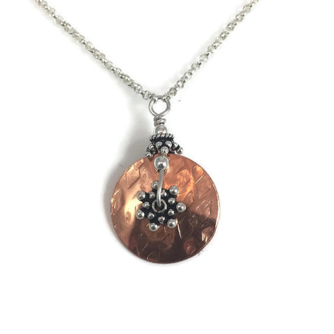 Silver & Copper Layered Disk Necklace