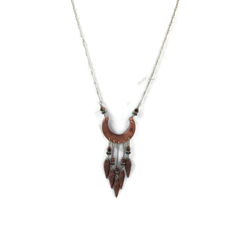 Copper & Silver Tribal Dangle Necklace