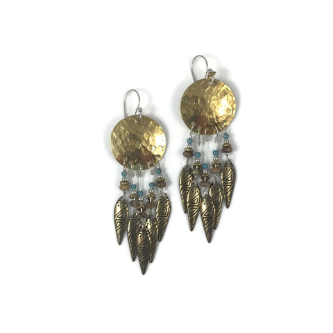 Brass Hammered Disk Tribal Drop Earrings with Picture Jasper & Turquoise