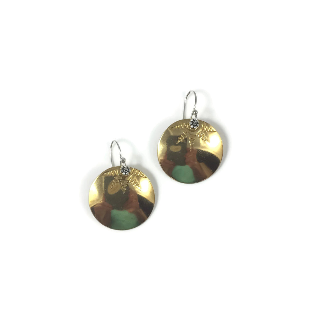 Medium Brass Sunburst Disk Earrings