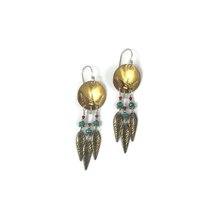 Triple Tribal Drop Brass Earrings