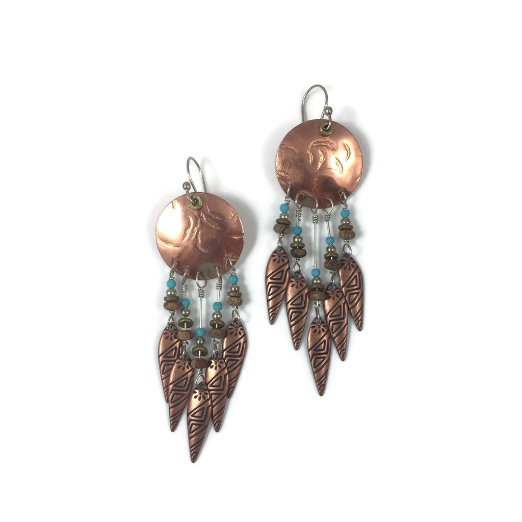 5 Tribal Drop Copper Disk Statement Earrings