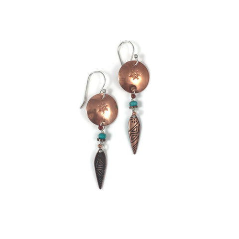 Single Tribal Drop Small Copper Disk Earrings